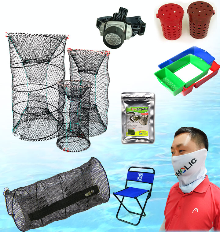 [캠핑용품] 민물 낚시 의자/미끼통/통발