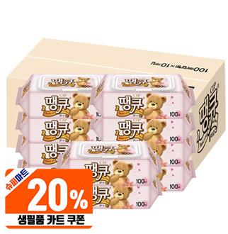[슈퍼마트][20%쿠폰]땡큐 물티슈 캡형 100매*10팩